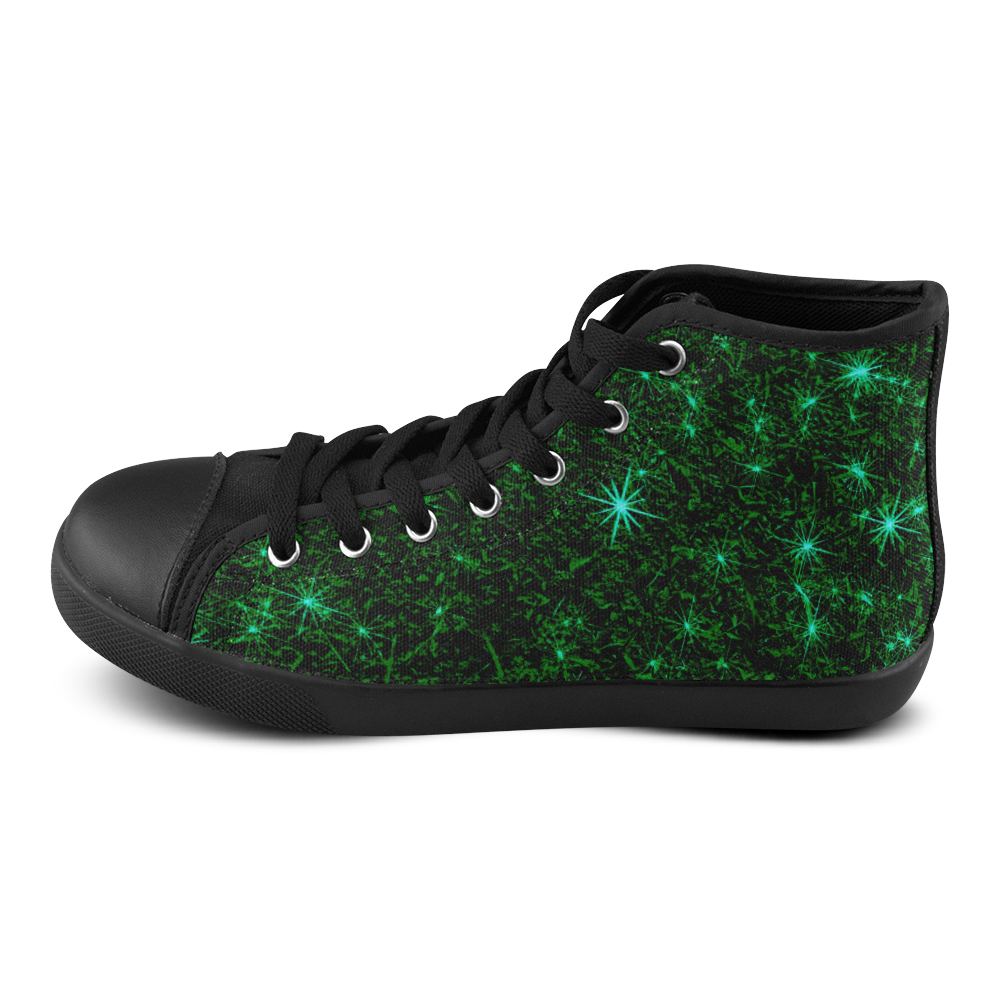 Sparkling Green - Jera Nour High Top Canvas Women's Shoes/Large Size (Model 002)