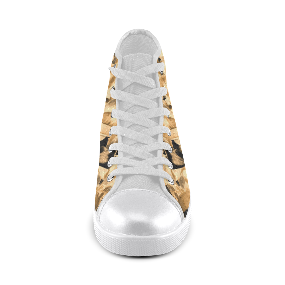 Foliage #2 Gold - Jera Nour High Top Canvas Women's Shoes/Large Size (Model 002)