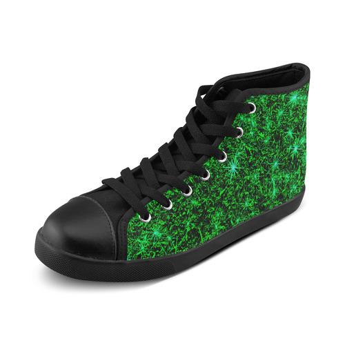 Sparkling Green - Jera Nour High Top Canvas Women's Shoes/Large Size (Model 002)