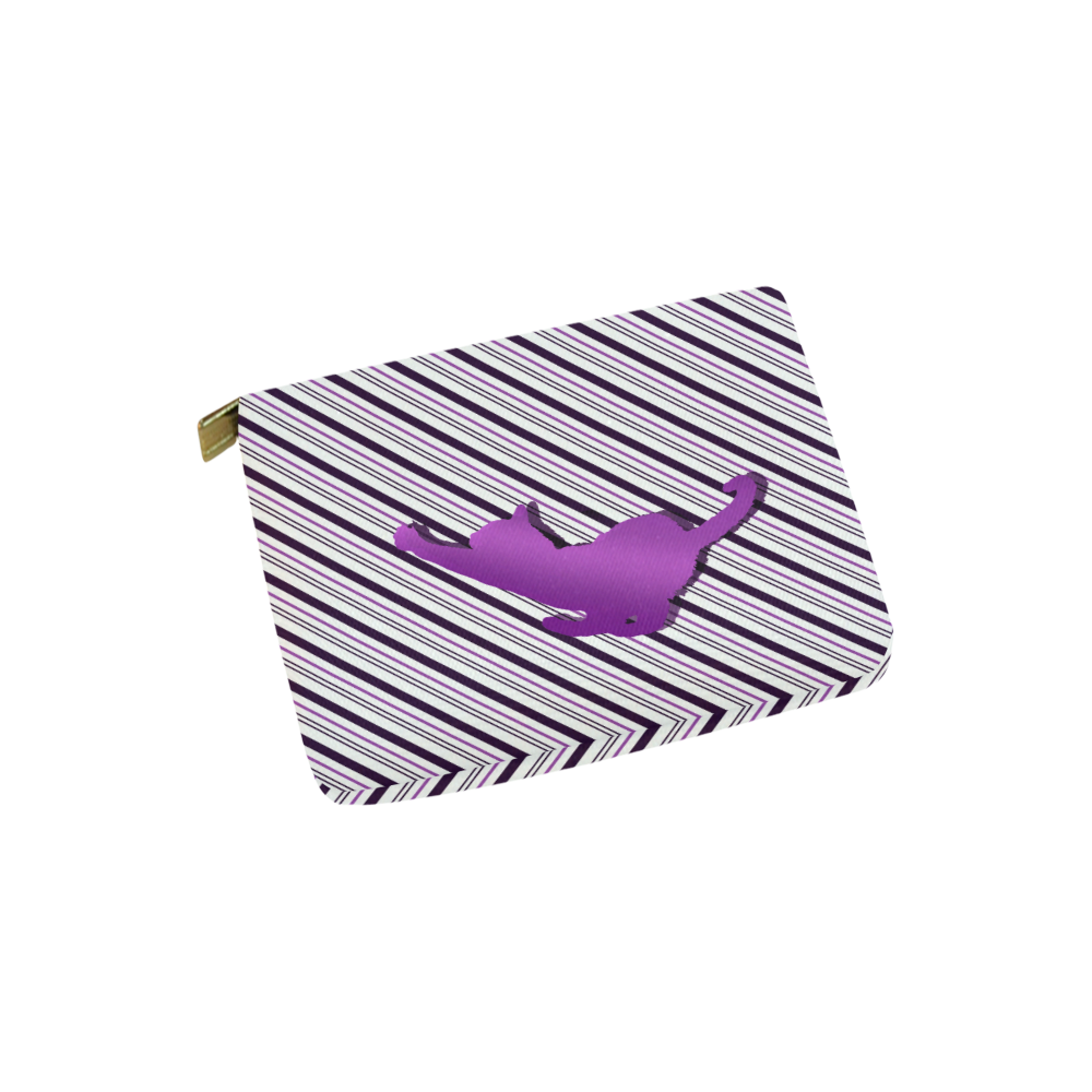 Cat stretch out on Stripes Carry-All Pouch 6''x5''