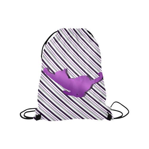 "Cat stretch out on Stripes Medium Drawstring Bag Model 1604 (Twin Sides) 13.8""(W) * 18.1""(H)"