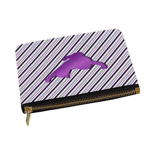 Cat stretch out on Stripes Carry-All Pouch 12.5''x8.5''