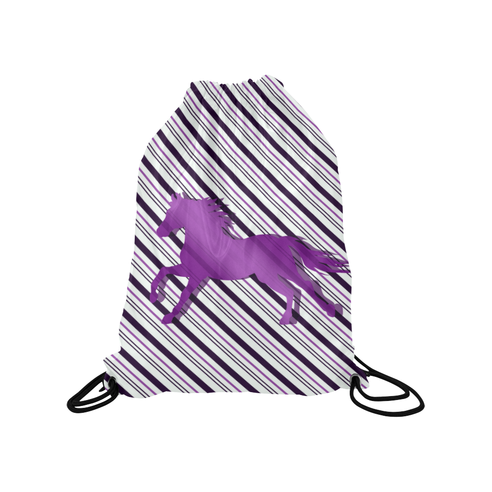 "Running Horse on Stripes Medium Drawstring Bag Model 1604 (Twin Sides) 13.8""(W) * 18.1""(H)"