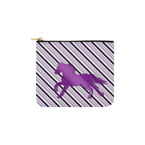 Running Horse on Stripes Carry-All Pouch 6''x5''