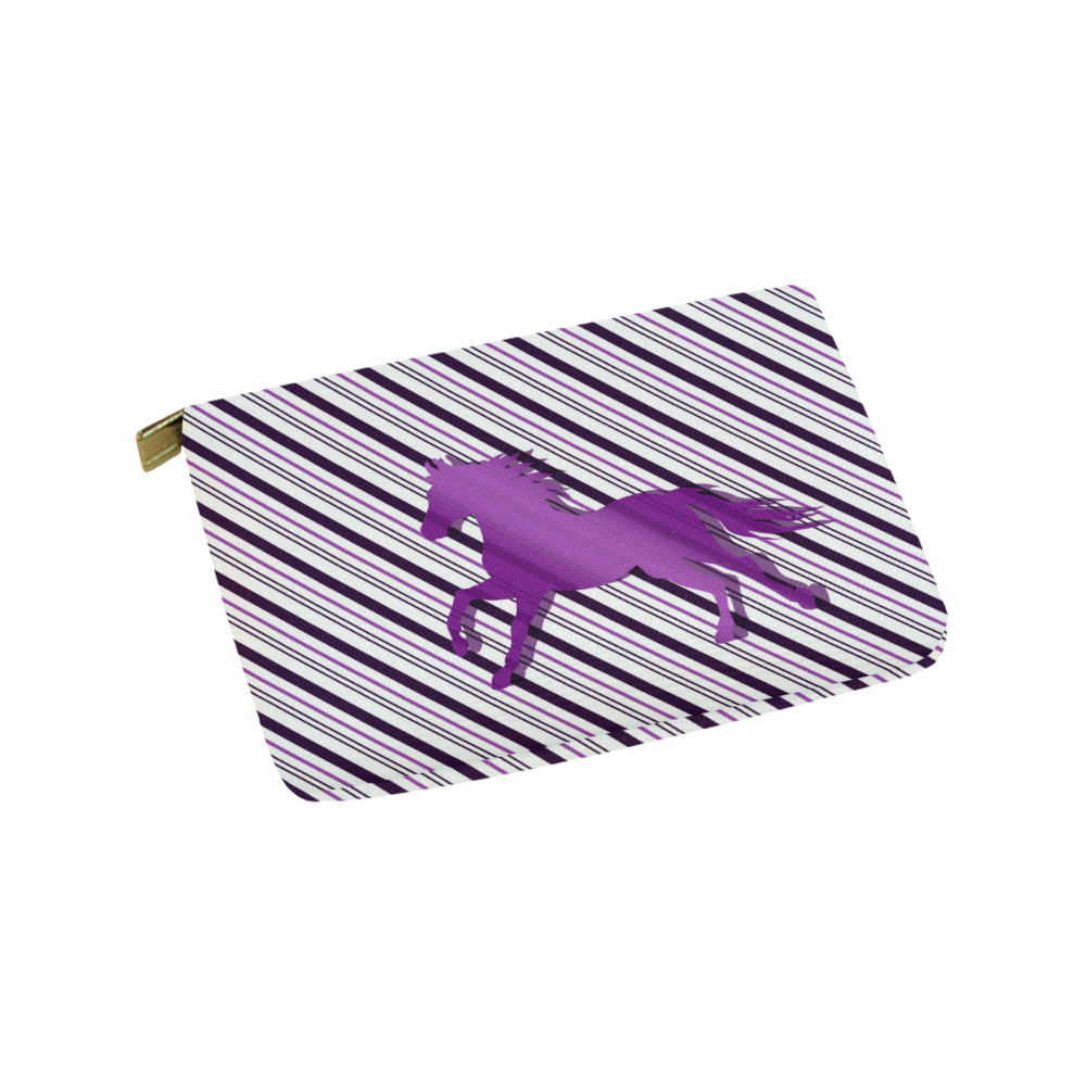 Running Horse on Stripes Carry-All Pouch 9.5''x6''