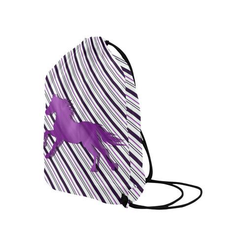 "Running Horse on Stripes Large Drawstring Bag Model 1604 (Twin Sides)  16.5""(W) * 19.3""(H)"