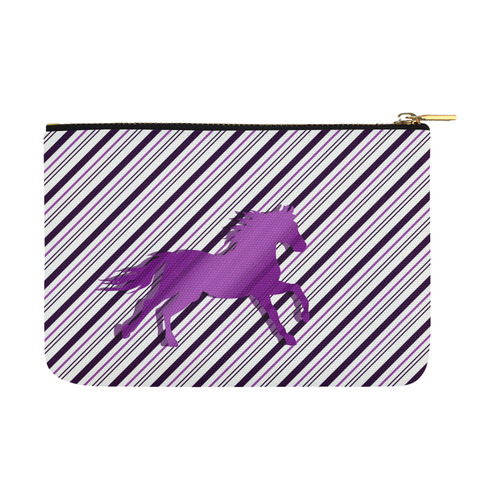 Running Horse on Stripes Carry-All Pouch 12.5''x8.5''