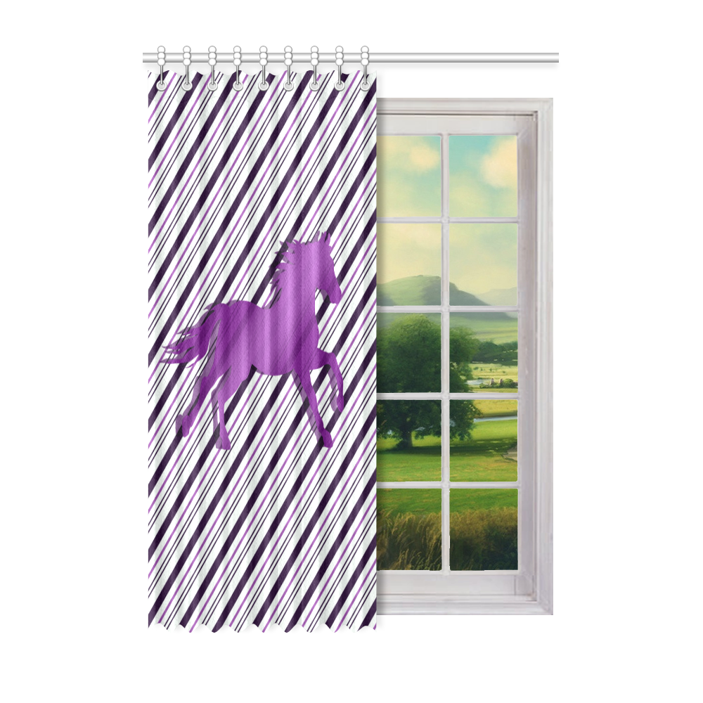 "Running Horse on Stripes Window Curtain 52"" x 72""(One Piece)"