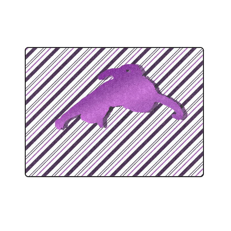 """Cat stretch out on Stripes Blanket 58""""x80"""""""