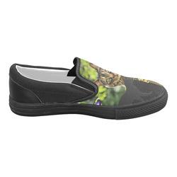 ZIPPER CUTE CAT FLOWERS Men's Slip-on Canvas Shoes (Model 019)