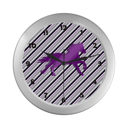 Running Horse on Stripes Silver Color Wall Clock