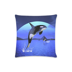 """A Orca Whale Enjoy The Freedom Custom Zippered Pillow Case 16""""x16"""" (one side)"""