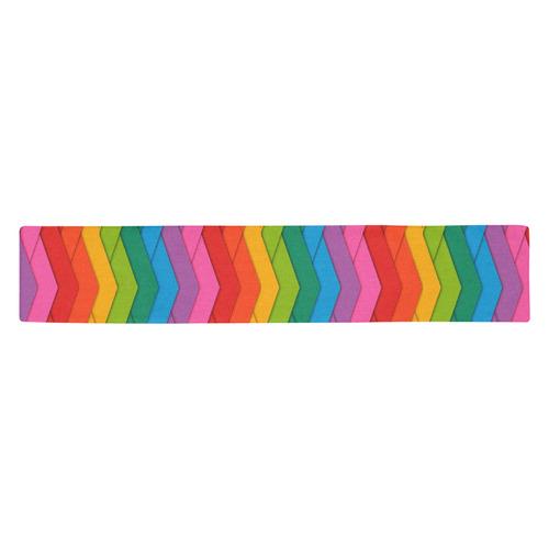 Woven Rainbow Table Runner 14x72 inch