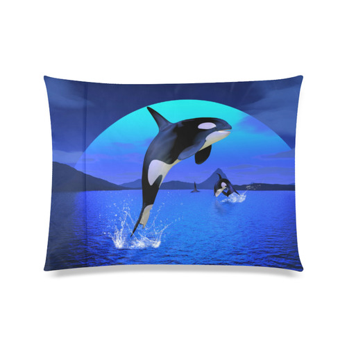 """A Orca Whale Enjoy The Freedom Custom Zippered Pillow Case 20""""x26""""(Twin Sides)"""