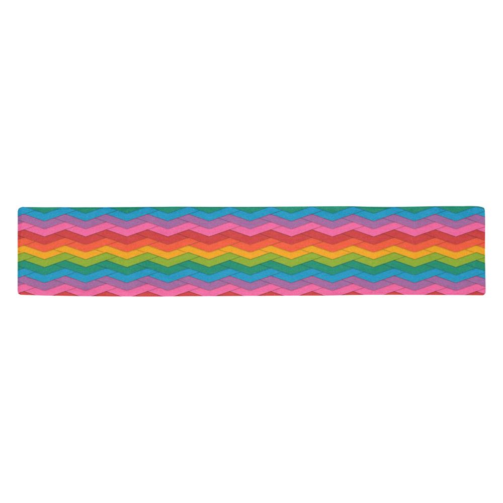 Woven Little Rainbow Table Runner 14x72 inch