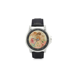 Vintage valentine cupid angel hear love songs Unisex Stainless Steel Leather Strap Watch(Model 202)