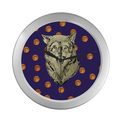 Wolf and moon clock Silver Color Wall Clock