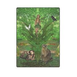 "Cute Fairy meet her Friends in the Summer Wood Blanket 58""x80"""
