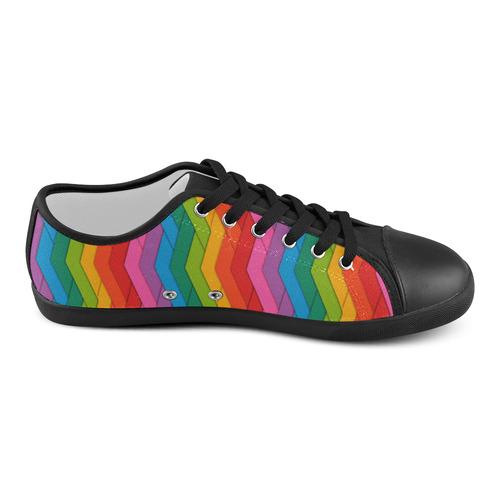 Woven Rainbow Women's Canvas Shoes (Model 016)