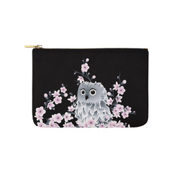 Cute Owl and Cherry Blossoms Black Pink Carry-All Pouch 9.5''x6''