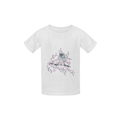 Cute Owl and Cherry Blossoms Asia Floral Kid's  Classic T-shirt (Model T22)