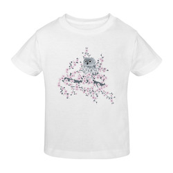 Cute Owl and Cherry Blossoms Asia Floral Sunny Youth T-shirt (Model T04)