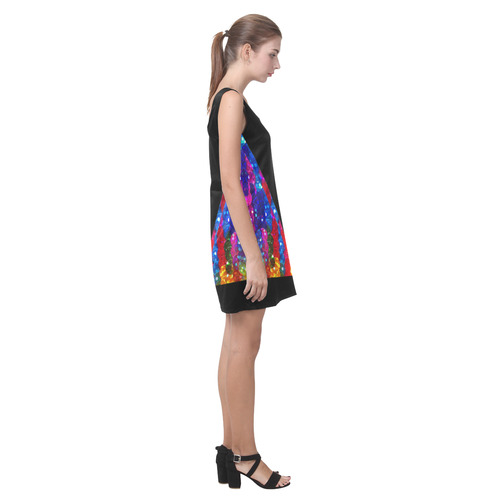 Black with Rainbow Faux Sequins Frill Helen Sleeveless Dress (Model D10)