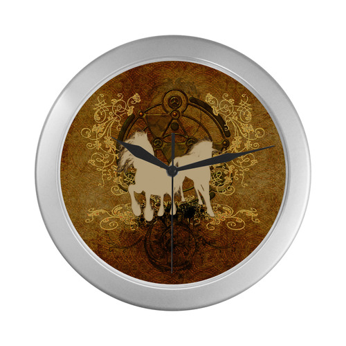 Beautiful horses, silhouette Silver Color Wall Clock
