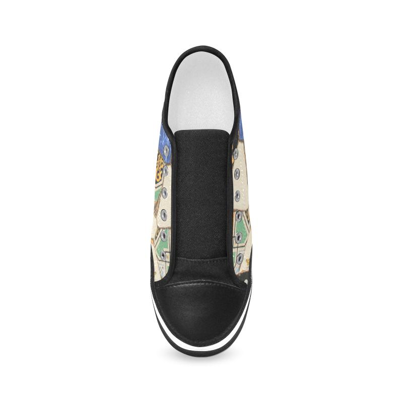 Mosaic decoration Women's Canvas Zipper Shoes/Large Size (Model 001)