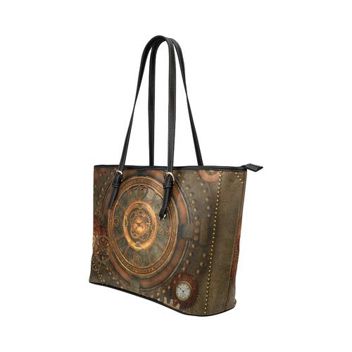 Steampunk, wonderful vintage clocks and gears Leather Tote Bag/Large (Model 1651)
