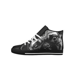 Cute PUG / carlin with red tongue Aquila High Top Microfiber Leather Women's Shoes (Model 027)