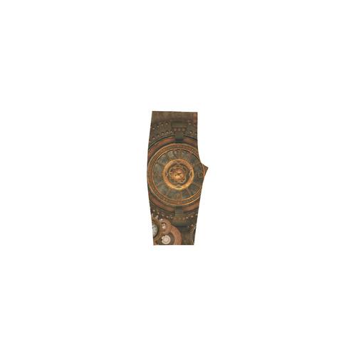 Steampunk, wonderful vintage clocks and gears Hestia Cropped Leggings (Model L03)