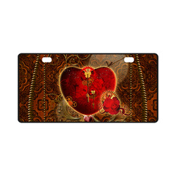 Steampunk, valentines heart with gears License Plate