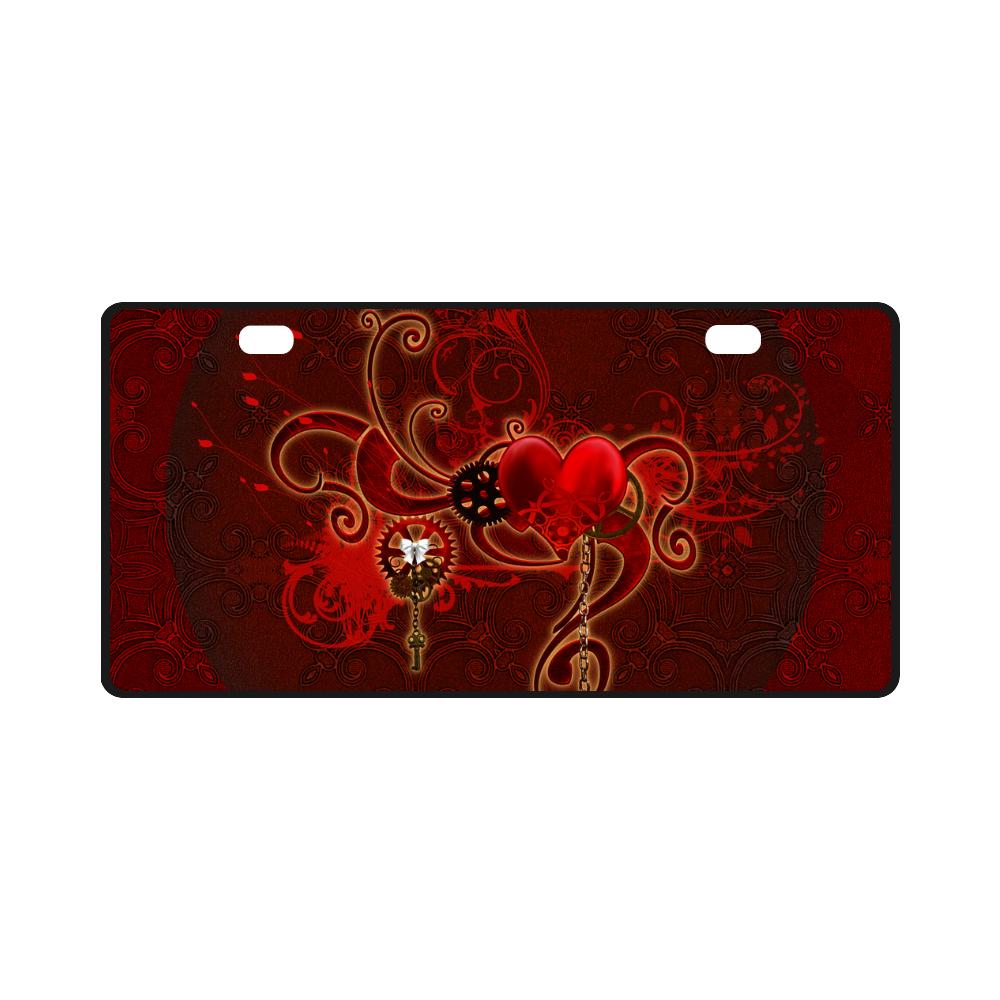 Wonderful steampunk design with heart License Plate
