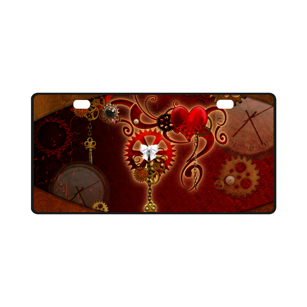 steampunk, hearts, clocks and gears License Plate