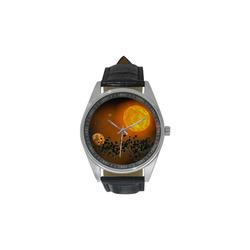 Space scenario - The Apocalypse Men's Casual Leather Strap Watch(Model 211)