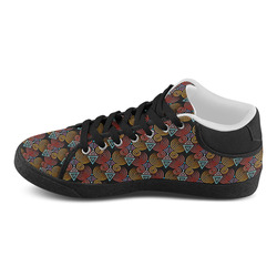 Lovely Geometric LOVE Hearts Pattern Women's Chukka Canvas Shoes (Model 003)