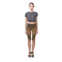 Steampunk, wonderful vintage clocks and gears Hestia Cropped Leggings (Model L03)