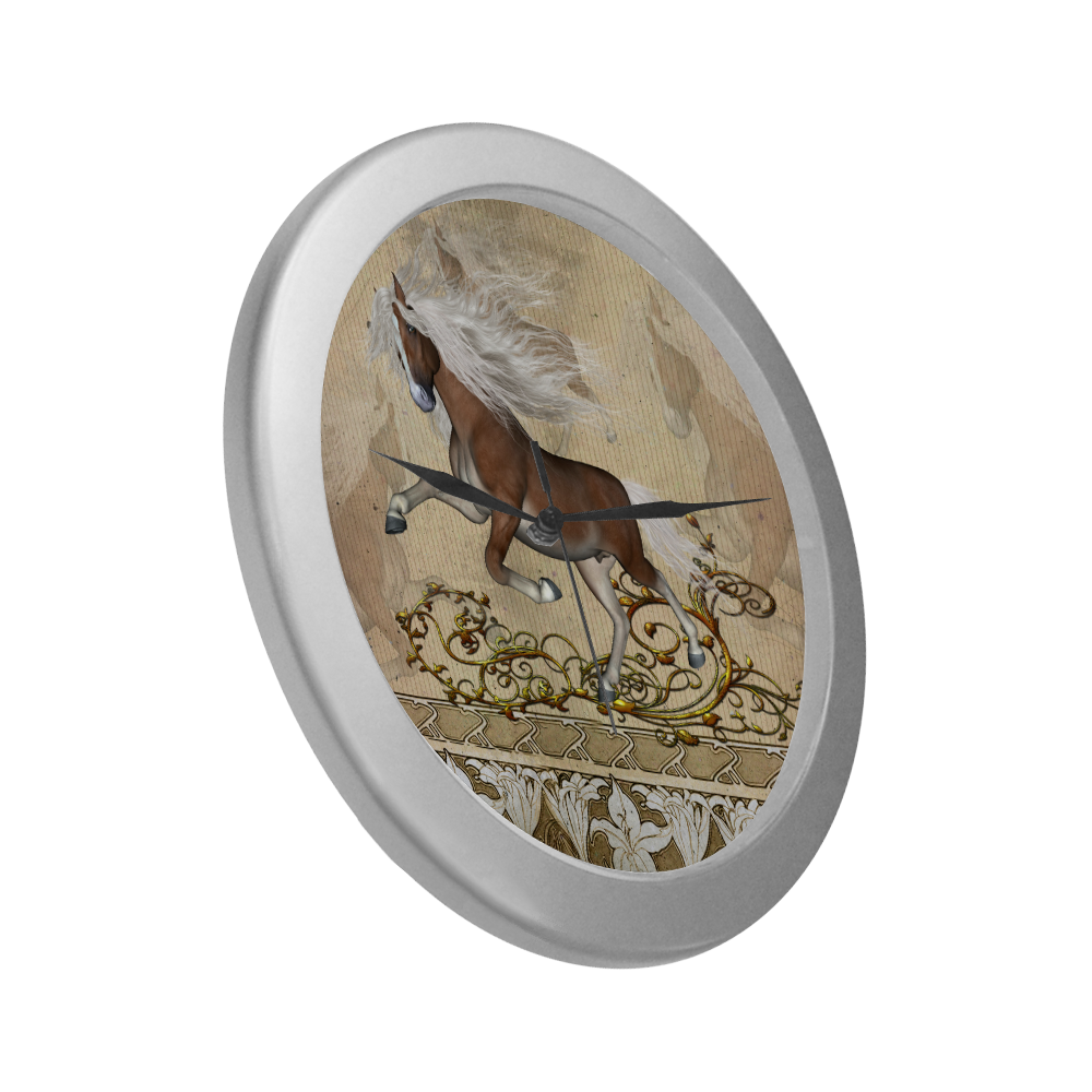 Wonderful wild horse Silver Color Wall Clock