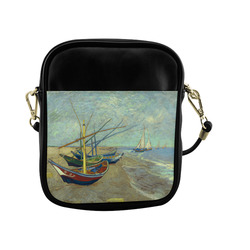 Vincent van Gogh Fishing Boats Beach Sling Bag (Model 1627)
