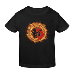 Gold Red Fire Rooster Button Sunny Youth T-shirt (Model T04)