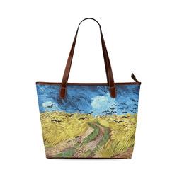 Vincent van Gogh Wheatfield with Crows Shoulder Tote Bag (Model 1646)