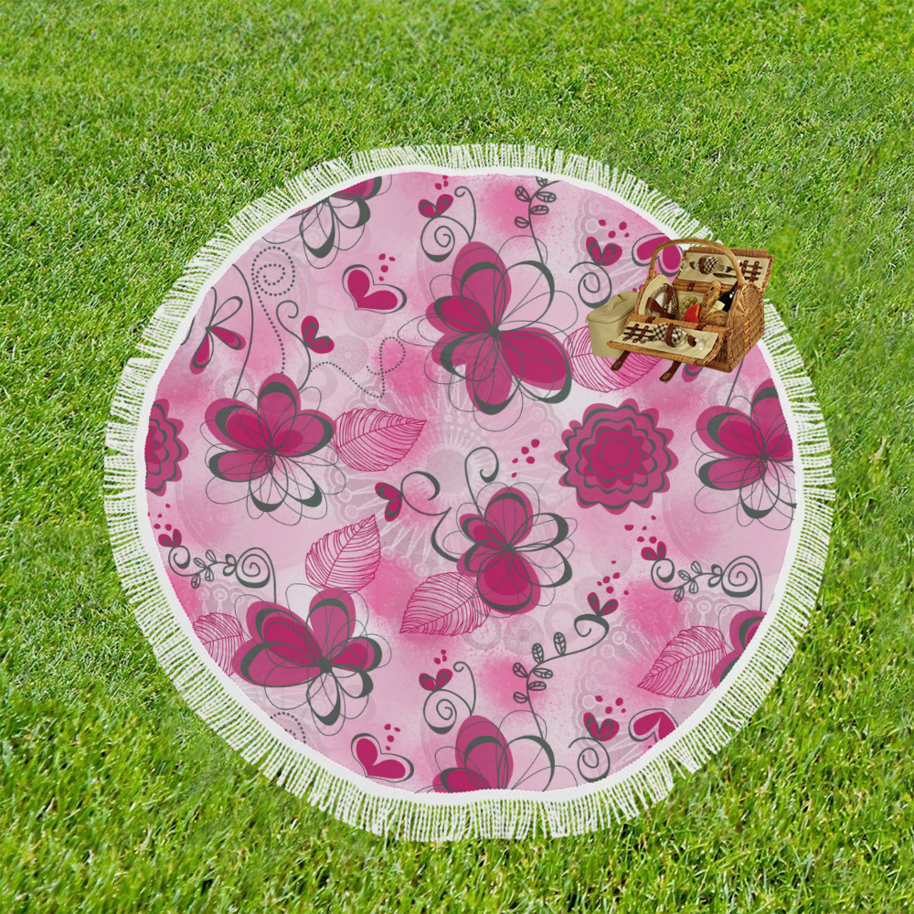 "Pink Dreams Doodle Circular Beach Shawl 59""x 59"""