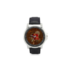 Steampunk, valentines heart with gears Unisex Stainless Steel Leather Strap Watch(Model 202)