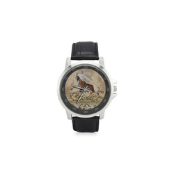 Wonderful wild horse Unisex Stainless Steel Leather Strap Watch(Model 202)
