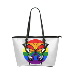 Dot Rainbow Flag Stripes Butterfly Silhouette Leather Tote Bag/Large (Model 1651)