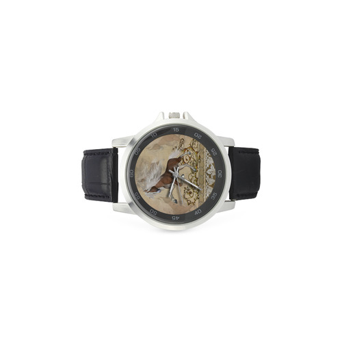 Wonderful wild horse Unisex Stainless Steel Leather Strap Watch(Model 202)
