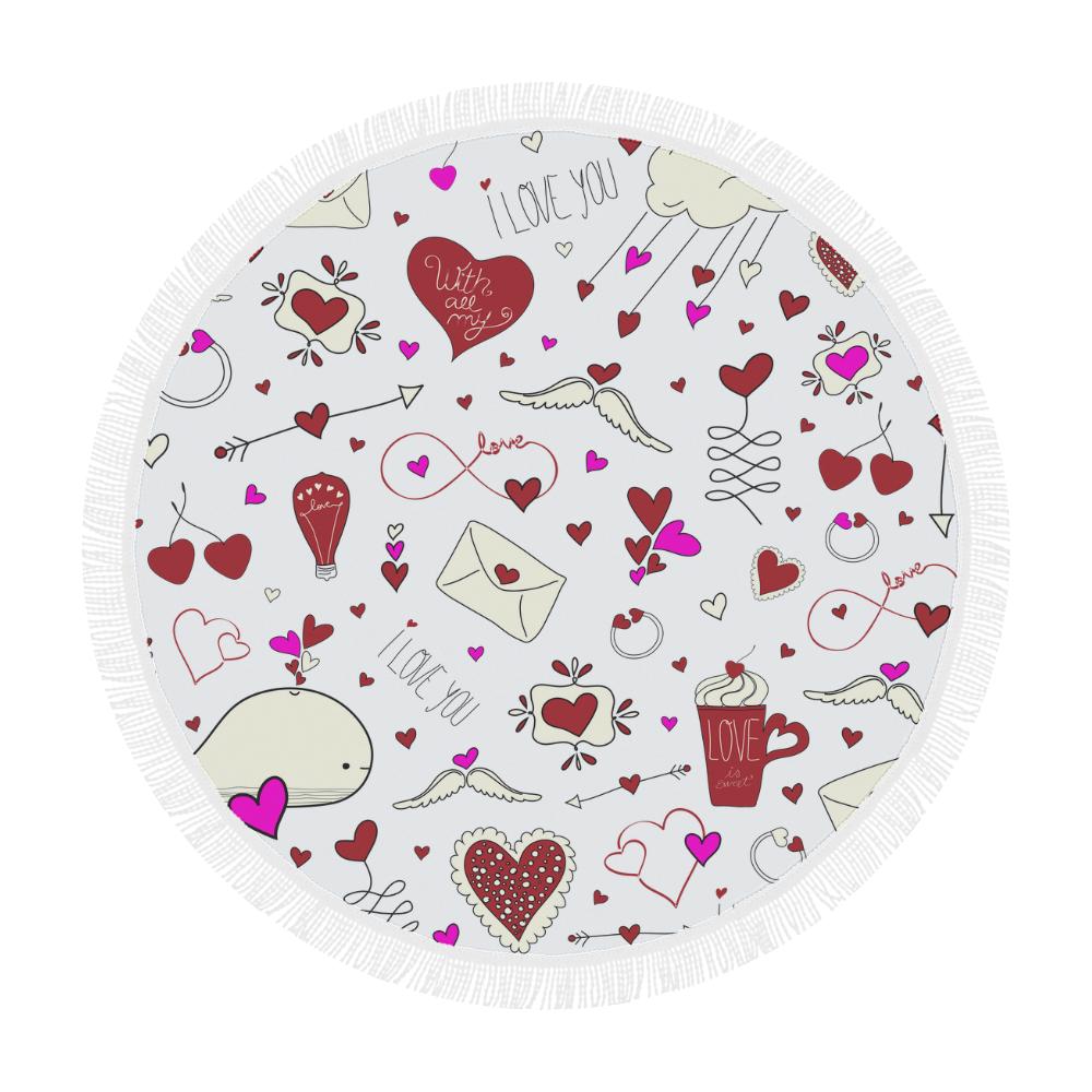 "Valentine's Day LOVE HEARTS pattern red pink Circular Beach Shawl 59""x 59"""