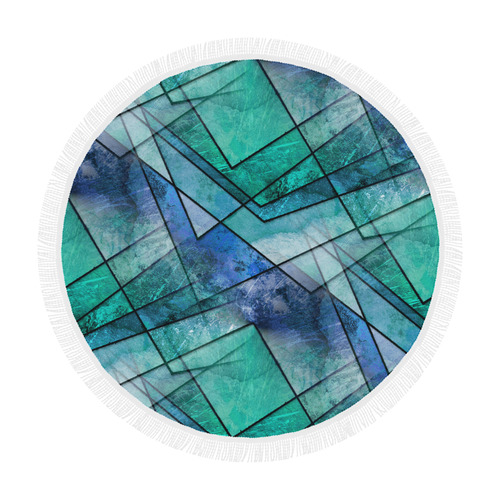 "Aqua Shards Circular Beach Shawl 59""x 59"""