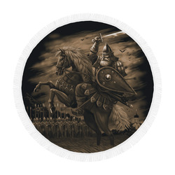 "Warrior Hero in Armor on a Horse Circular Beach Shawl 59""x 59"""